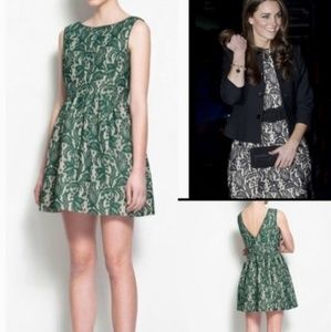 ZARA | Like New Dark Green/Nude Lined Lace Dress